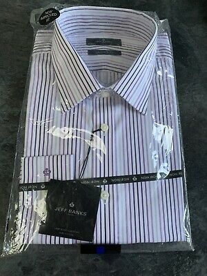 """Mens Jeff Banks Shirt New 18"""" Tailored Fit • 8£"""