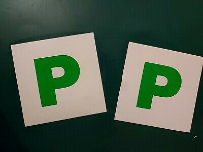 2x New Driver P Plate Stickers Safety Car Learner Just Passed Vinyl Signs • 1.90£
