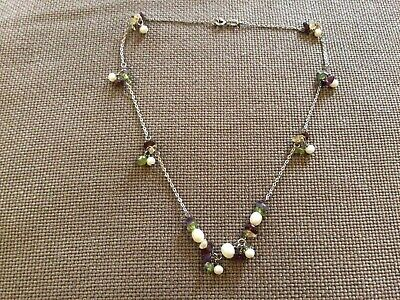Necklace With Faux Pearls, Violet, Green, Brown Stones. From Argentus Jewellers. • 6£