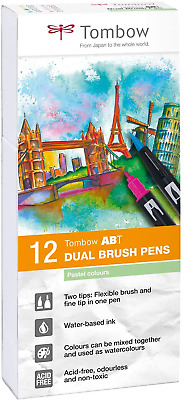 Tombow ABT Dual Brush Pen - Pastel Pack Of 12 • 30.96£