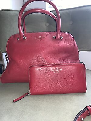 $ CDN94.15 • Buy Kate Spade Red Leather Purse With Removable Crossbody Strap With Matching Wallet