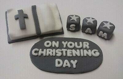 Handmade Edible Personalised Bible Christening Baptism Cake Topper - Any Colour • 13.75£