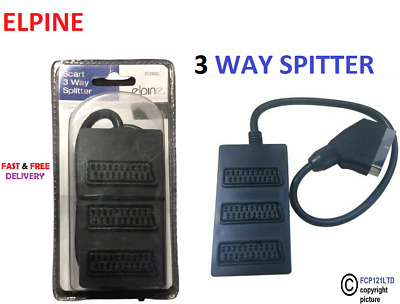 £4.80 • Buy 3 Way Scart Lead Cable Wire Splitter Switch Box Adapter Extension Tv Dvd Video