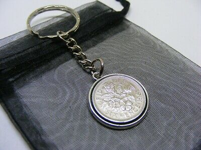 £5.95 • Buy 1961 Double Sided Lucky Sixpence Charm Keyring - 60th Birthday Gift - (SK01)