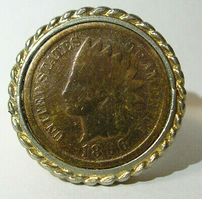 £11.95 • Buy Vintage Indian Head Penny Ring Novelty With 1896 1 Cent  18KT GE  Gold-tone