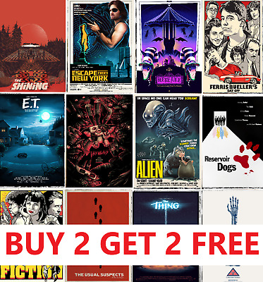 ALTERNATIVE MOVIE POSTERS Classic Greatest Cinema Room Decor Man Cave Wall Art • 3.45£