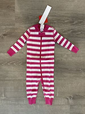 $19.99 • Buy New Hanna Andersson Pajamas One-piece Striped Sleeper Pink US 12-18 Months