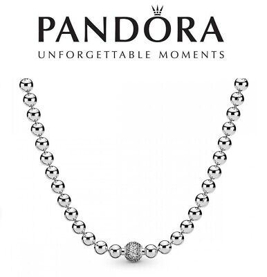 PANDORA Beads And Pave Necklace Chain  45cm • 89.99£