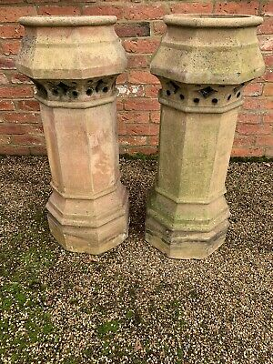 Pair Of Reclaimed Buff Yellow Clay Chimney Pots, Octagonal. Great Condition • 580£