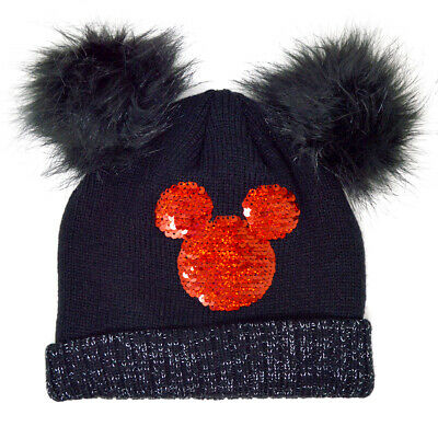 £5.49 • Buy Girls Minnie Mouse Reversible Sequin Winter Thermal Beanie Hat Black Pom Poms