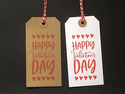 10 120x60 Large Brown Kraft / White Happy Valentines Day Hearts Gift Tags Labels • 2.45£