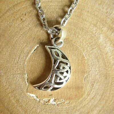 Sterling Silver Celtic Moon Necklace - Crescent Pendant Charm - Wicca Pagan  • 6.99£