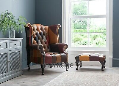 £695 • Buy Brompton Patchwork Leather Wing Chair Armchair High Back Chesterfield Button