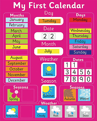 £21.82 • Buy My First Magnetic Calendar - PINK Also Available In BLUE. Rigid Board 40 X 32cm