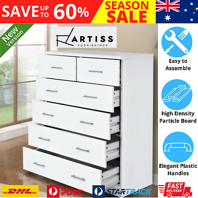 AU181.01 • Buy Artiss Tallboy Dresser 6 Chest Of Drawers Table Cabinet Bedroom Storage White