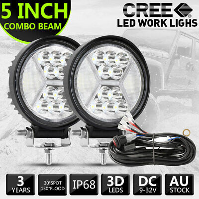 AU45.99 • Buy New Pair 5  Inch Round LED Work Lights Spot Flood Offroad Fog Driving W/ Wiring