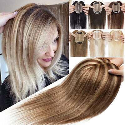 £38.49 • Buy CLEARANCE Human Hair Toupee Clip In Topper Top Wig Silk Base Hairpiece For Women