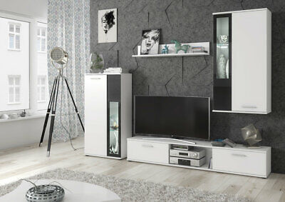 Living Room Furniture Set Tv Unit Display Stand Wall Mounted Cupboard LED Lights • 255£