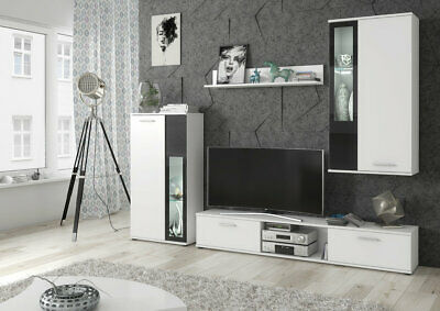 £289 • Buy White Living Room Furniture Set Tv Unit Display Stand Wall Mounted Cupboard LEDs