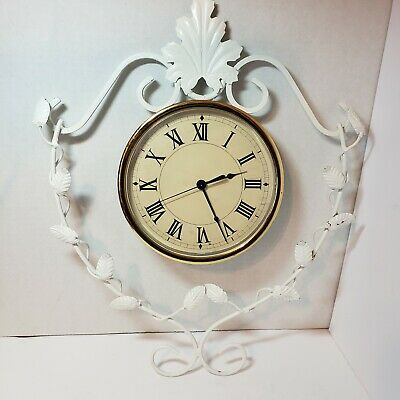 £15.64 • Buy Scrolled Wrought Iron Wall Clock Leaves Vines Roman Numerals  VTG