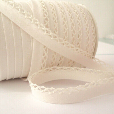 Picot Lace Edge Plain Bias Binding Trim - Cream - Cotton Fabric Trim • 17.99£