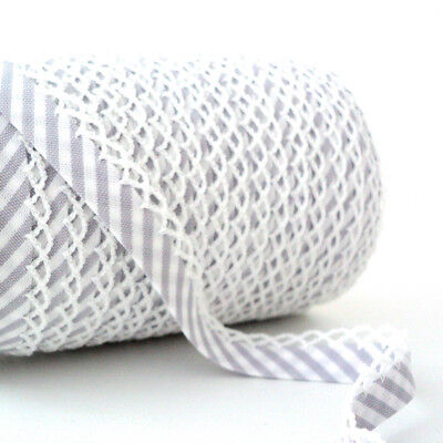 Stripe Picot Lace Edge Bias Binding Trim - Grey - Cotton Fabric Trim • 17.99£