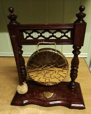 Edwardian Burmese Dinner Gong And Striker With Oak Wood Stand • 165£