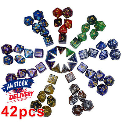 AU19.90 • Buy 42pcs Polyhedral Dice Playing For Dungeons And Dragons Game DND RPG Sets D4-D20
