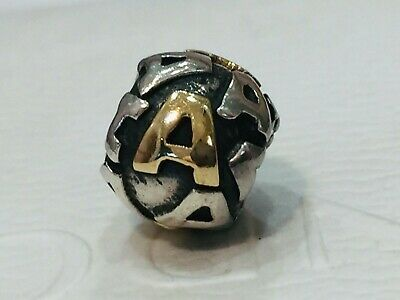AU149 • Buy Authentic Pandora Two Tone Silver Gold Initial Charm Letter A 790298 Retired