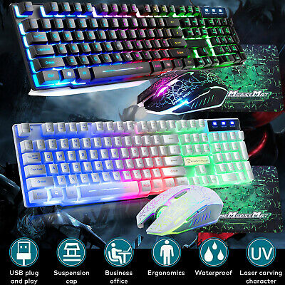 AU21.99 • Buy Gaming Keyboard And Mouse Set Rainbow Usb Wired Backlight For PC T6 PS4 Xbox One