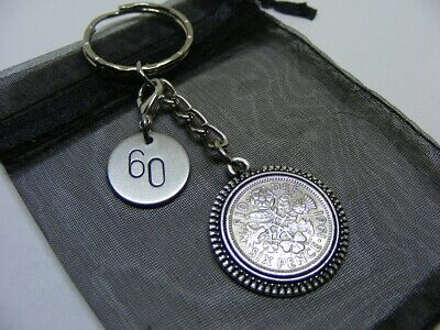 £5.95 • Buy 1961 Lucky Sixpence & Number 60 Charm Keyring - 60th Birthday Gift - (SK03)