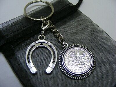 1961 Lucky Sixpence & Lucky Horseshoe Charm Keyring - 60th Birthday Gift (SK03) • 5.95£