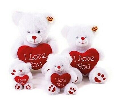 Mothers Day Bear 10.5  White I Love You  Red Heart Small Teddy Bear Soft Plush  • 12.99£