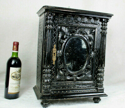 AU856.04 • Buy Antique French Wood Black Lacquered Napoleon III Apothecary Wall Cabinet Mirror