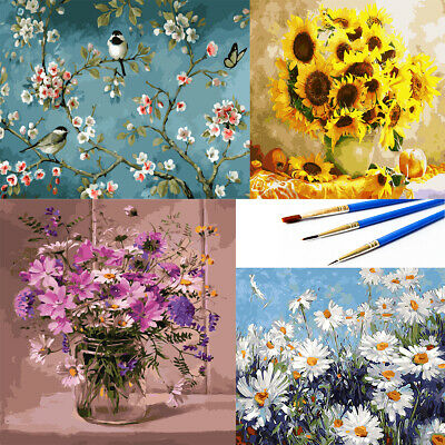 DIY Oil Acrylic Painting By Numbers Kit Flowers Painting Brush Children Gifts UK • 6.98£