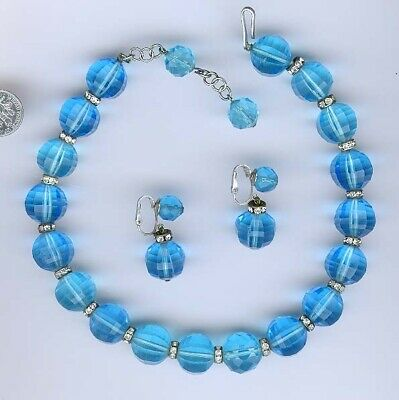 $42 • Buy SKY-BLUE-AQUA ~  GLASS BEAD NECKLACE ~ HIGHLY FACETED, LARGE 16mm BEADS ~ VINTAG