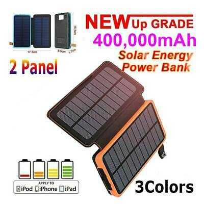 AU37.99 • Buy 400000mAh Solar Power Bank 2 Panel Qi Portable Charger External Battery Pack USB