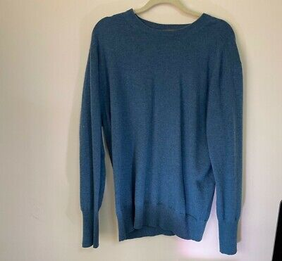 N. Peal 100% Cashmere Crew Neck Jumper Large Skyfall Blue James Bond 007 • 129.99£