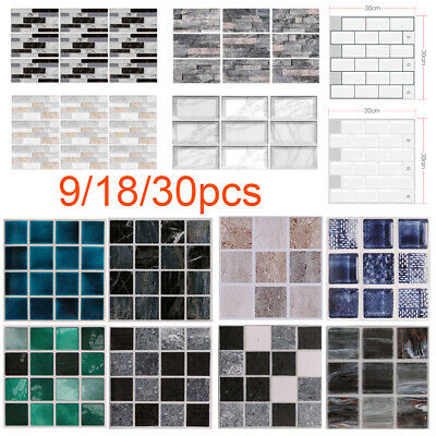 Self-Adhesive Mosaic Kitchen Tile Sticker Wall Tiles Bathroom Brick Peel & Stick • 4.13£