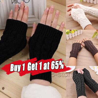 £3.33 • Buy Women Ladies Soft Mittens Arm Warmer Protected Fingerless Knitted Long Gloves