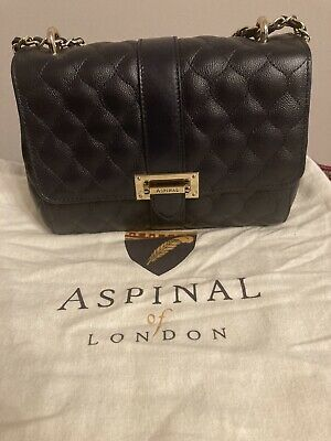 Aspinal Of London Lottie Bag Black Quilted Kaviar Rrp £495 • 250£