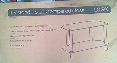 TV Stand Black Tempered Glass S700BG12X Logik • 25£