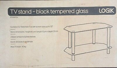 TV Stand Black Glass For Up To 32 • 25£