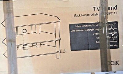 TV Stand Black Tempered Glass S800BG11X Logik • 25£