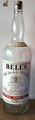 Vintage 8 Pint Bell's Scotch Whisky Glass Bottle With Cork Large (empty) Prop  • 65£