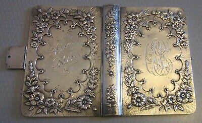 £284.81 • Buy Antique 1891 STERLING SILVER REPOUSSE BOOK COVER Common Prayer Bible Diary