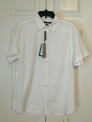 $21 • Buy NEW $69 PERRY ELLIS Total Stretch Slim Fit Travel Luxe Button Shirt White Sz M