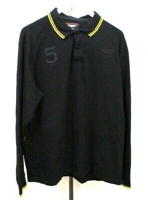Aston Martin Polo Shirt Black Long Sleeved Hackett Men's UK Size XXL . BARR6CM • 20£