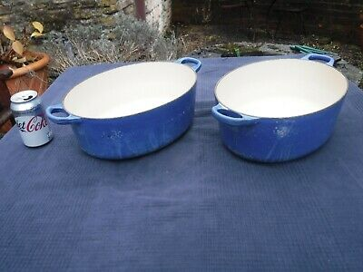 Pair Of Blue Oval Le Creuset No:30 Casserole Dishes - No Lids • 55£