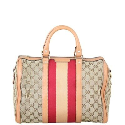 AU770 • Buy Authentic Gucci Vintage Web Original GG Boston Bag Medium